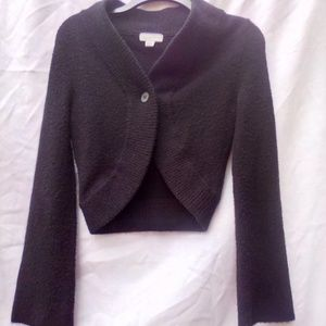 Anthropologie black crop Cardigan Sweater